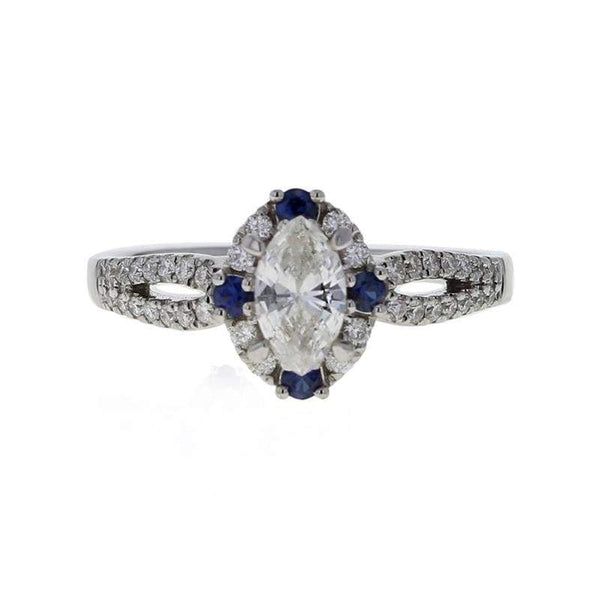 Capri Engagement Ring 0.68ctw Diamond Marquise and Sapphire Bridal Ring 18K