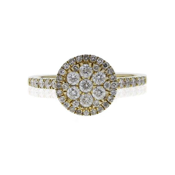 Capri Engagement Ring 0.78ctw Diamond Floral Cluster Halo Ring 14K