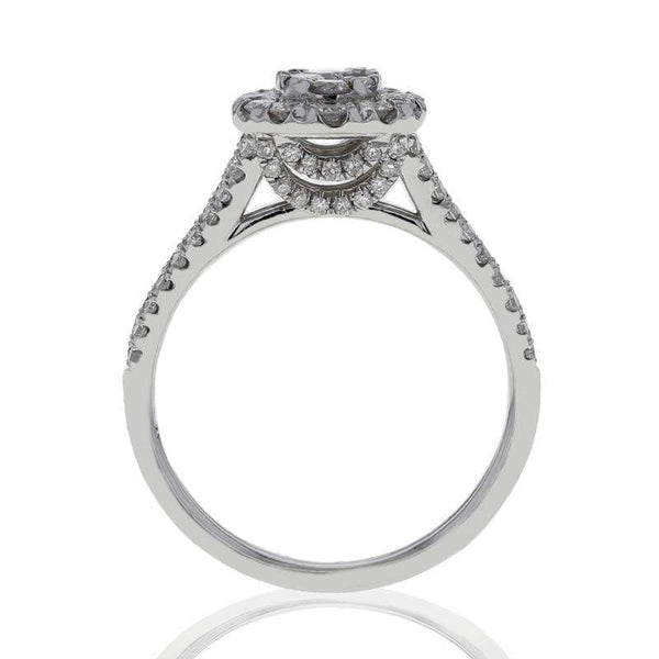 Capri Engagement Ring 1.00ctw Diamond Oval Cluster Bridal Ring 14K