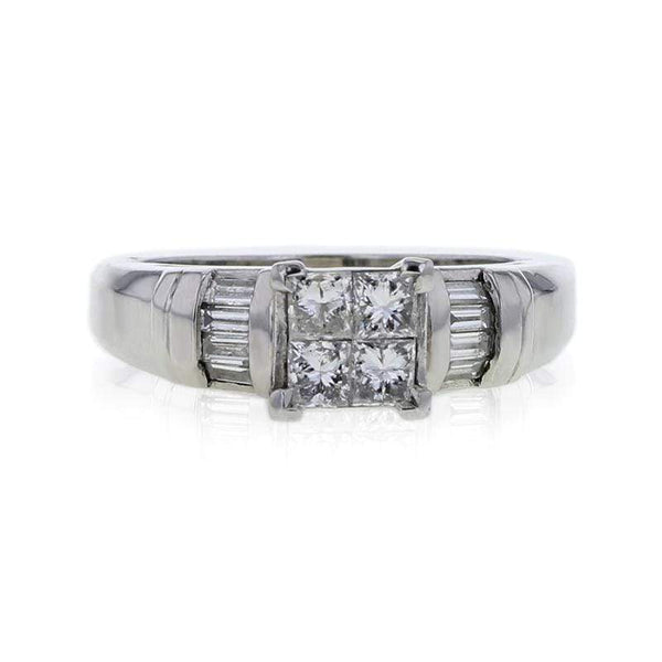 Capri Engagement Ring 1.00ctw Princess Cut Diamond Invisible Set Ring in Platinum