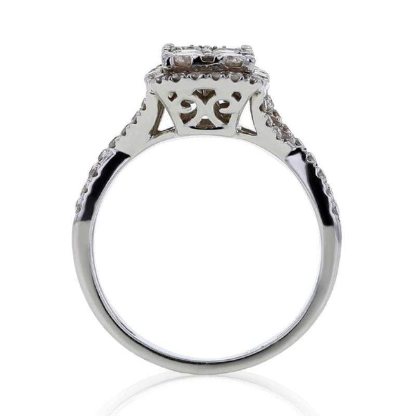 Capri Engagement Ring 1.20ctw Diamond Cluster Bridal Ring 14K