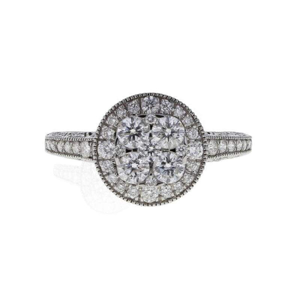 Capri Engagement Ring 1.25ctw Diamond Cluster White Gold Halo Ring 14K