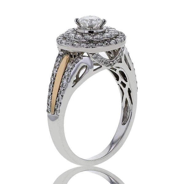 Capri Engagement Ring 1.25ctw Diamond Halo Two Tone Bridal Ring 14k