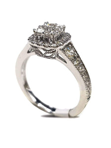 Capri Engagement Ring 1.34ctw Quad set Diamond Halo Ring 14K
