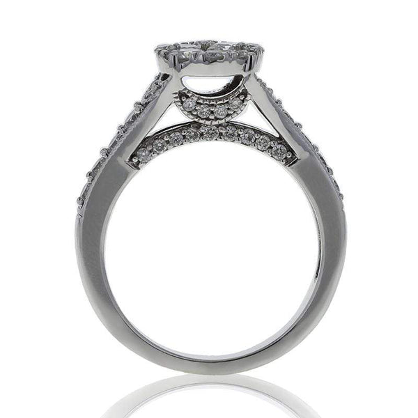 Capri Engagement Ring 1.35ctw Diamond Cluster Bridal Ring 14K