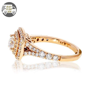 Capri Engagement Ring 1.50ctw Diamond Double Halo Rose Gold Ring 14K