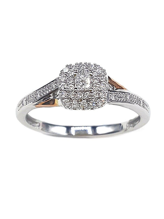 Capri Engagement Ring 1/5ctw Princess Cut Double Halo Ring 10K