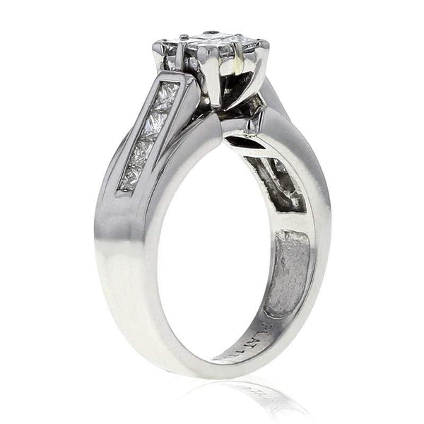 Capri Engagement Ring 1ctw Princess Cut Invisible set Cluster Bridal Ring Platinum