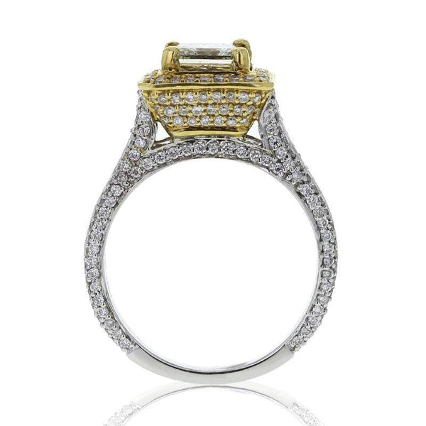 Capri Engagement Ring 2.78ctw Diamond Princess Cut Halo Bridal Ring 18K