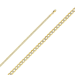 Capri_L Chain Cuban Link White Gold Pave Chain 3.4 mm 14K Yellow Gold