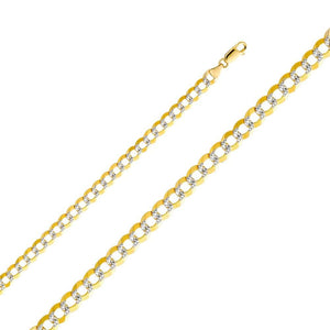 Cuban White Gold Pave Chain 7 mm 14K Yellow Gold