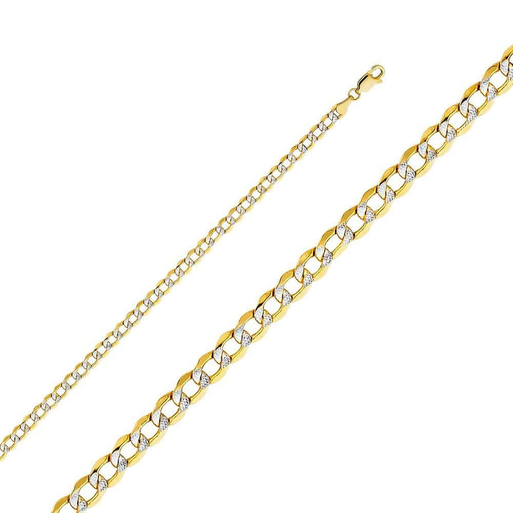 Capri_L Chain Hollow Cuban Link White Pave Chain 4.2mm 14K Yellow Gold
