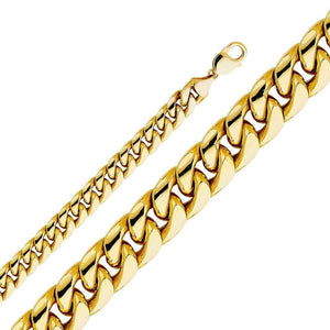 Capri_L Chain Hollow Miami Cuban Chain 11 mm 14K Yellow Gold