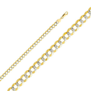 "Capri_L Mens Bracelet Cuban Link White Gold Pave Bracelet 8"" / 5.7 mm 14K Yellow Gold"