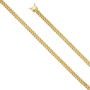 "Capri_L Mens Bracelet Hol Miami Cuban 150 w/box lock Bracelet 8"" / 5.7 mm Yellow Gold"