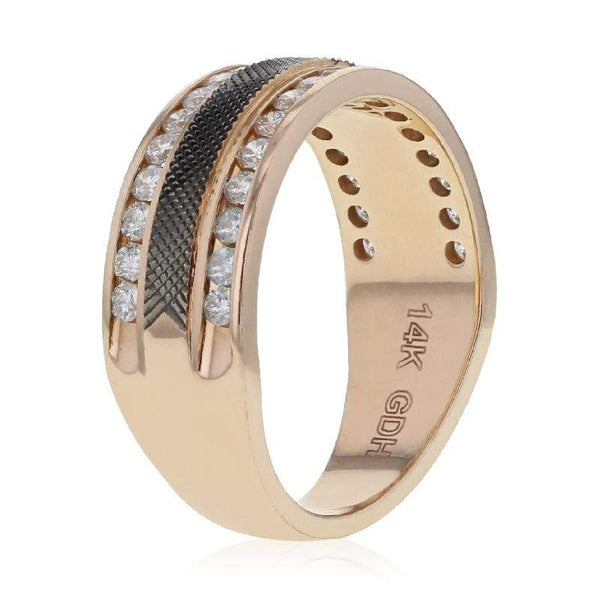 Capri Mens Band 0.98ctw Diamond Black Enamel Mens Rose Gold Wedding Band 14K