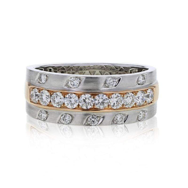 Capri Mens Band 1.00ctw Diamond Fancy Two Tone Mens Wedding Band 14K