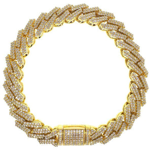 Capri Mens Bracelet 10.44ctw Diamond Yellow Gold Jagged Edge Cuban Link Bracelet 10K
