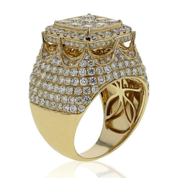 Capri Mens Ring 7.15ctw Diamond Pave Mens Fashion Ring 14K