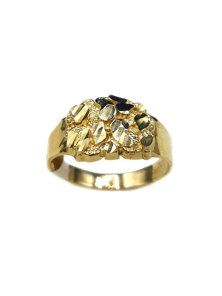 Capri Mens Ring Diamond-Cut Gold Nugget Ring Size 10 10K