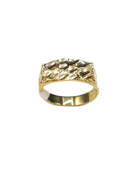 Capri Mens Ring Diamond-Cut Gold Nugget Ring Size 7.5 10K