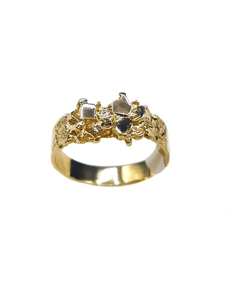 Capri Mens Ring Diamond-Cut Gold Nugget Ring Size 9.25 10K