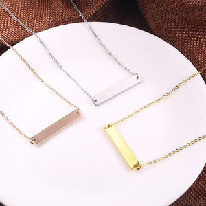 Capri Necklace Custom Laser Engraved Message on Gold Plated Sterling Silver Bar Necklace