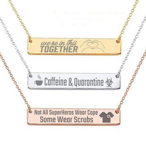 Capri Necklace White Custom Laser Engraved Message on Stainless Steel Plated Bar Necklace