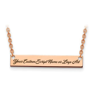 Capri Necklace Rose Custom Script Font Laser Engraved MEDIUM Size Bar Necklace