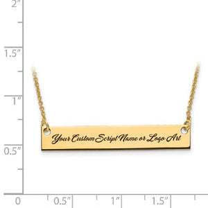 Capri Necklace Custom Script Font Laser Engraved MEDIUM Size Bar Necklace