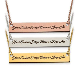 Capri Necklace Gold Custom Script Font Laser Engraved MEDIUM Size Bar Necklace
