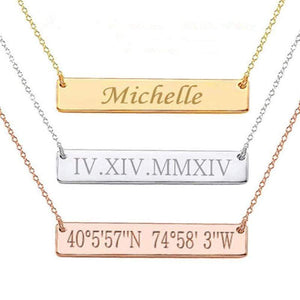 Capri Necklace Custom Script Font Laser Engraved MEDIUM Size Stainless Steel Plated Bar Necklace