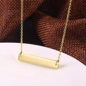 "Capri Necklace 16""-18""-Gold Color Custom Script Font Laser Engraved MEDIUM Size Stainless Steel Plated Bar Necklace"