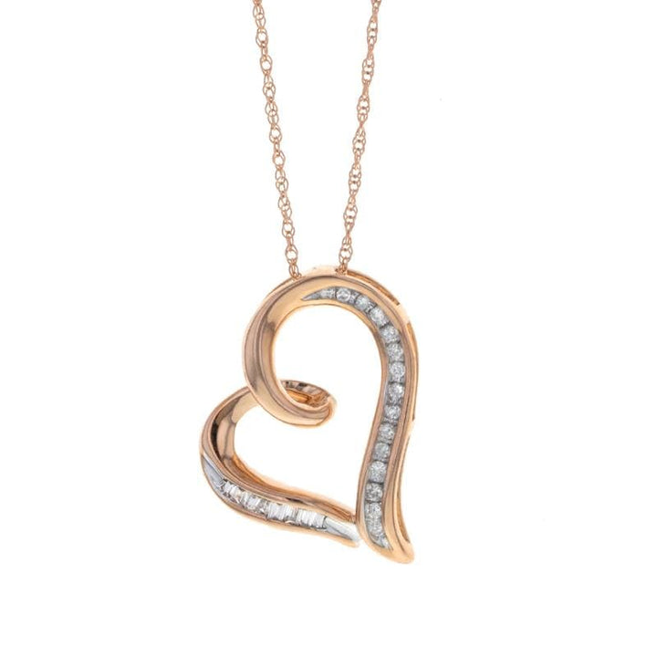 Capri Necklace Diamond Floating Heart Pendant Necklace in Rose Gold 10K