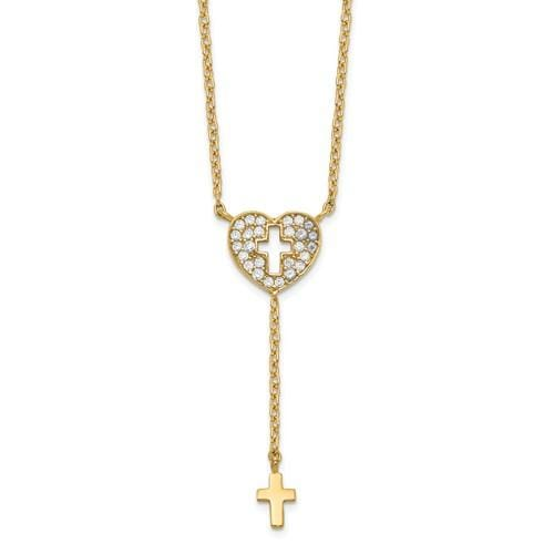 Capri Necklace Heart With Cross CZ Necklace 14K
