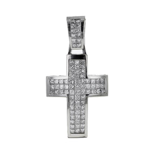 Capri Pendant 5.50ctw Diamond Invisible Set Cross Pendant 14K