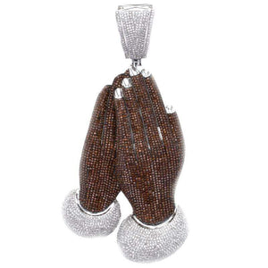 Capri Pendant 9.50ctw Diamond Praying Hands Pendant 10K