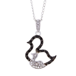 Capri Pendant Black and White Diamond Accent Mom and Baby Duck Pendant Necklace in Sterling Silver