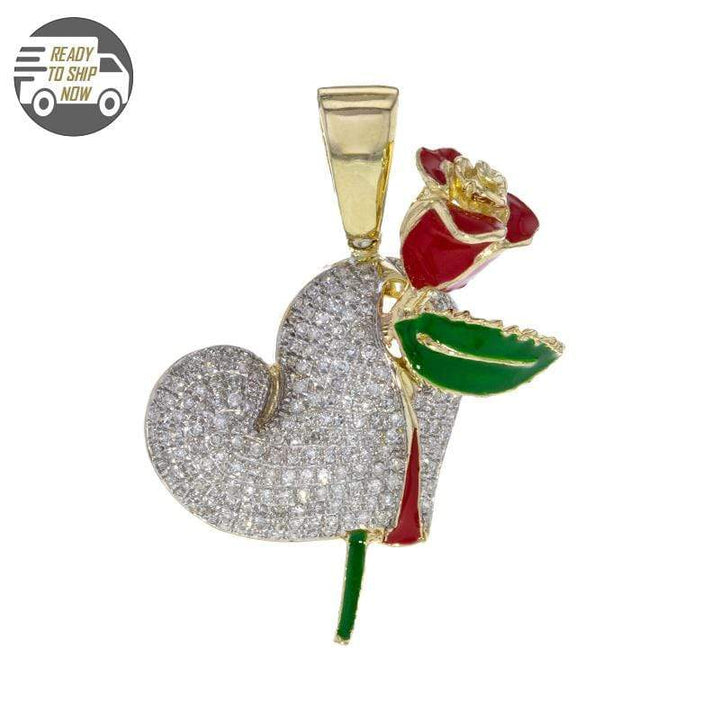 Capri Pendant Puff Diamond Heart with Red Rose Pendant in Yellow Gold 14K