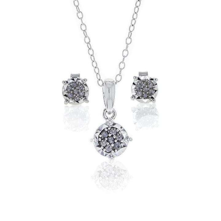 Capri Pendant Set 1/4ctw Diamond Pendant and Earring Set in Sterling Silver