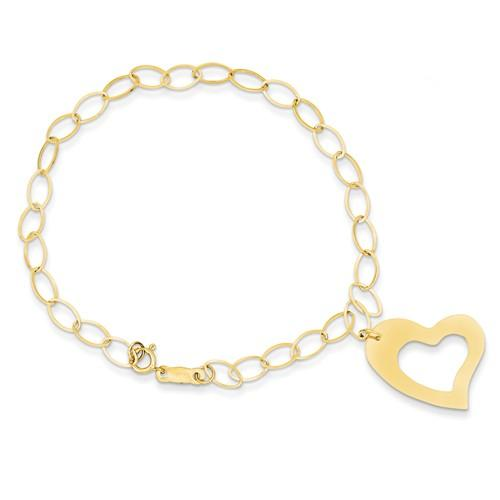 Capri_Q Bracelet Yellow Gold Dangle Heart Bracelet 14K
