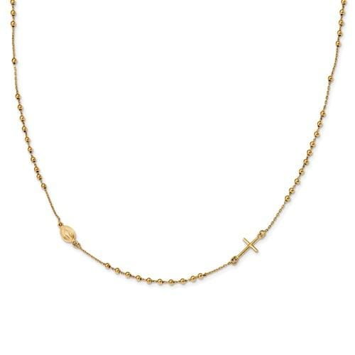 Capri_Q Necklace Polished 16in Cross Rosary Necklace 14K