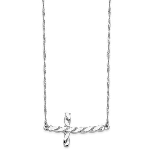 Capri_Q Necklace White Gold Polished Twisted Sideways Cross 17 Inch Necklace 14K