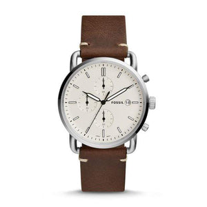 Fossil Watches Fossil Commuter Chronograph Leather Silver Brown 42mm FS5402P