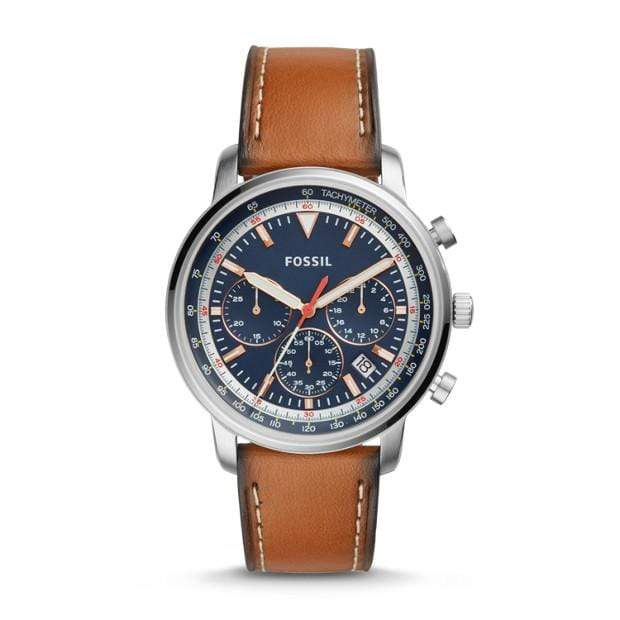 Fossil Watches Fossil Goodwin Chronograph Light Brown Leather Watch 44mm FS5414P
