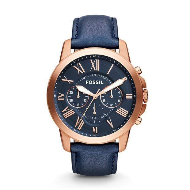 Fossil Watches Fossil Grant Chronograph Navy Leather Watch 44mm FS4835IEP