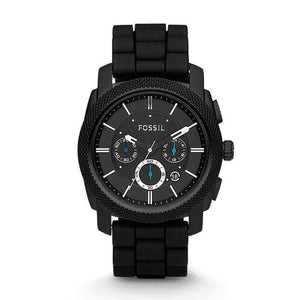 Fossil Watches Fossil Machine Chronograph Black Silicone Watch 45mm FS4487P