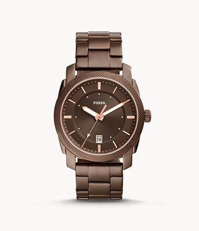 Fossil Watches Fossil Machine Three-Hand Brown Stainless Steel Watch 42mm FS5370