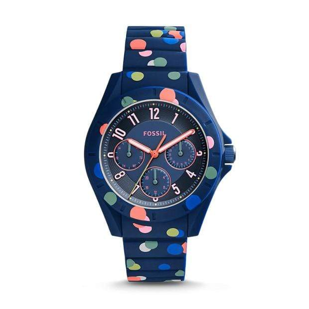 Fossil Watches Fossil Poptastic Sport Multi-Function Polka Dot Silicone Watch 38mm ES4141P
