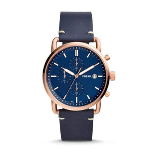 Fossil Watches Fossil The Commuter Chronograph Navy Leather Watch 42mm FS5404